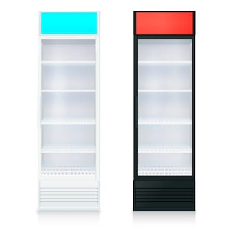Modelo de geladeiras vazias na posição vertical com porta de vidro e prateleiras