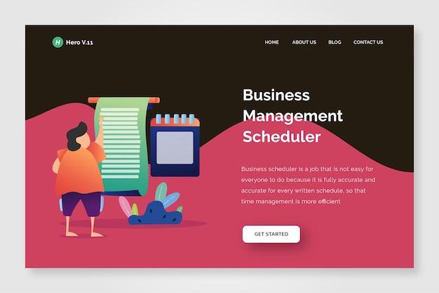Modelo de gerenciamento de negócios da página inicial