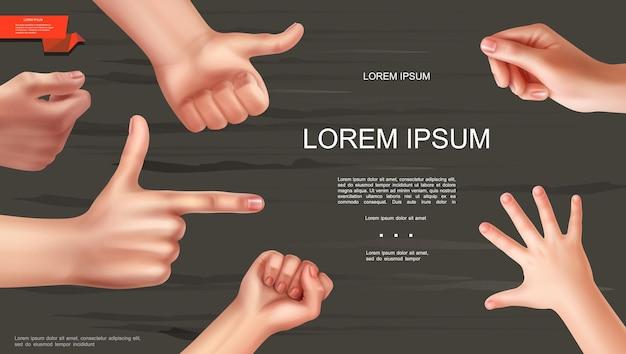 Modelo de gesto realista de mãos humanas com punho feminino, como sinal de crianças, palma, indicando e segurando algo com as mãos em um fundo de madeira