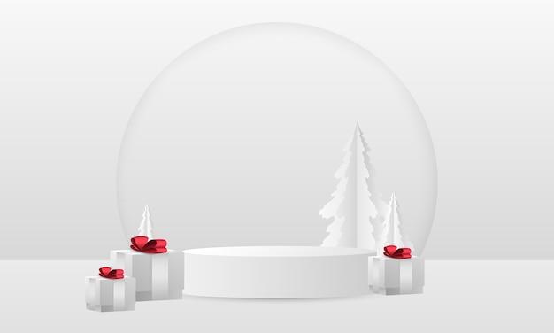 Modelo de globo de neve de natal com pinheiro branco. caixas de presente brancas com laço vermelho