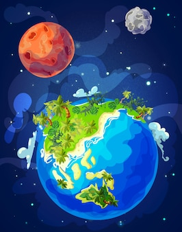 Modelo de globo terrestre natural de desenho animado