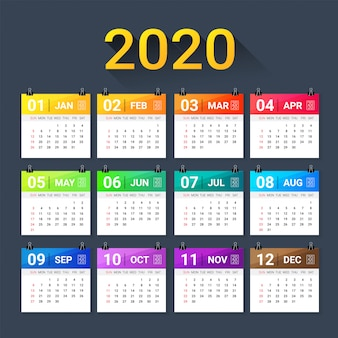 Modelo de gradiente colorido calendário ano 2020.