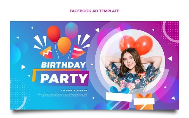 Modelo de gradiente de aniversário colorido no facebook