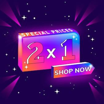 Modelo de gradiente de banner de promoção 2x1