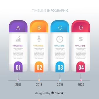 Modelo de gradiente de infográfico da linha do tempo