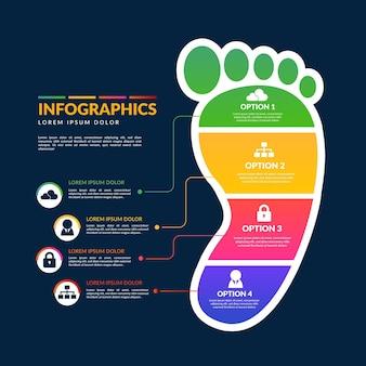 Modelo de gradiente de infográficos de pegada