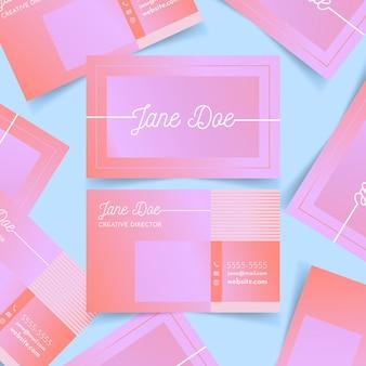 Modelo de gradiente pastel para cartões de visita