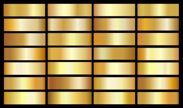 Modelo de gradientes de ouro. efeito metálico de vetor ouro