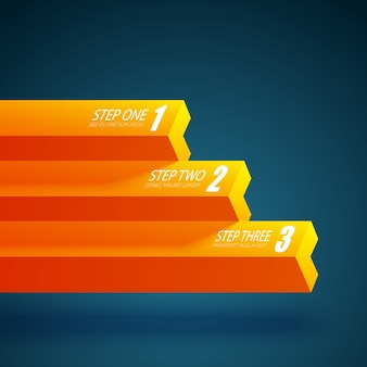 Modelo de gráfico de negócios com três etapas