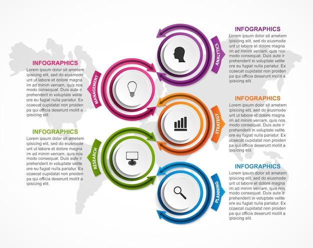 Modelo de gráfico de organização de design infográfico para apresentações de negócios