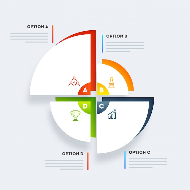 Modelo de gráfico de pizza de estatísticas coloridas