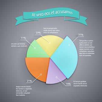 Modelo de gráfico de pizza de negócios vetoriais para infográficos, relatórios e apresentações