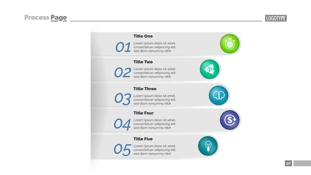 Modelo de gráfico de processo de abordagem de negócios de cinco etapas. visualização de dados corporativos