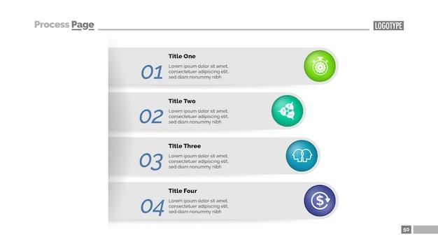 Modelo de gráfico de processo de abordagem de negócios de quatro etapas. visualização de dados corporativos.