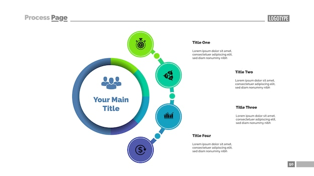 Modelo de gráfico de processo de abordagem de negócios de quatro opções.
