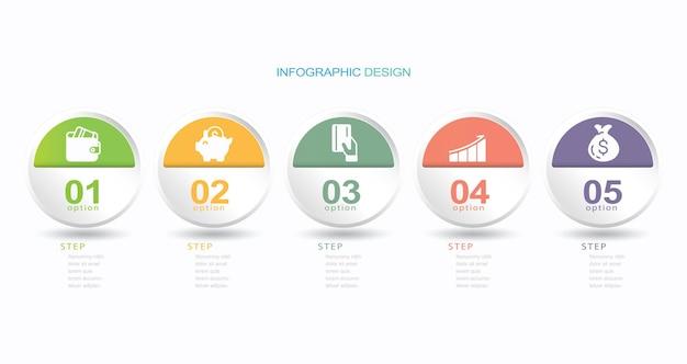 Modelo de gráfico de processo de infográfico de vetor cinco etapas ilustração de estoque gráfico de círculo infográfico