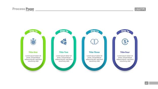 Modelo de gráfico de processo de projeto de quatro etapas para apresentação.