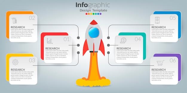 Modelo de gráfico infográfico com ícones no conceito de sucesso.