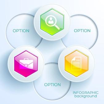 Modelo de gráfico infográfico digital com ícones de negócios, botões hexagonais brilhantes coloridos e círculos de luz