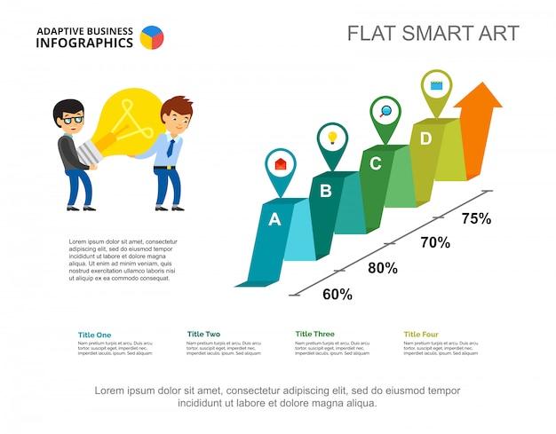 Modelo de gráfico percentual de quatro opções para apresentação. dados da empresa.