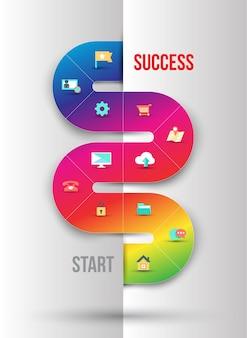 Modelo de gráficos de informação de negócios abstrata com ícones