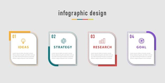 Modelo de gráficos de informações de negócios. linha do tempo com 4 etapas, opções.