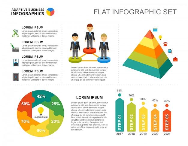 Modelo de gráficos de porcentagem de projeto de empresa para apresentação