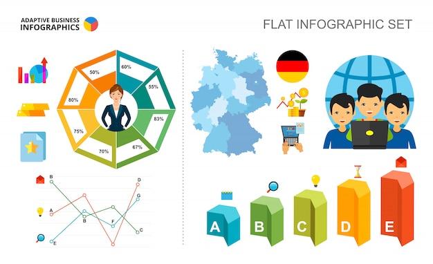 Modelo de gráficos de porcentagem e linha de tecnologia para apresentação