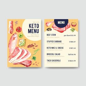 Modelo de grande menu com conceito de dieta cetogênica para ilustração em aquarela de restaurante e loja de alimentos.