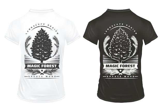 Modelo de gravuras vintage de coníferas com inscrições cones de galhos de árvores de abeto em camisas pretas e brancas isoladas