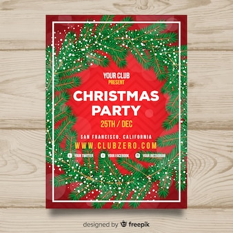 Modelo de grinalda de neve de cartaz de festa de natal