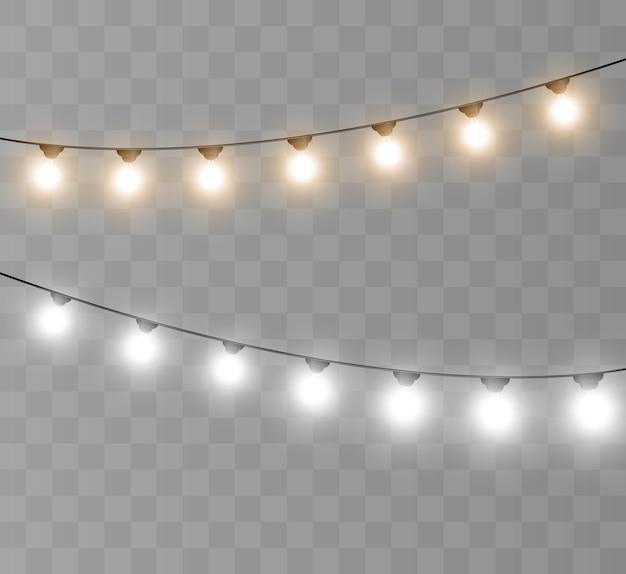 Modelo de guirlanda de luzes brilhantes para ilustrações vetoriais