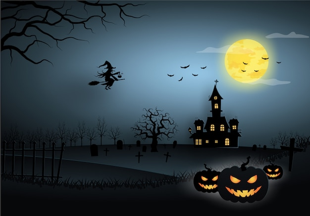 Modelo de halloween azul na vista do céu noturno com bruxa, abóbora, castelo e lua cheia.
