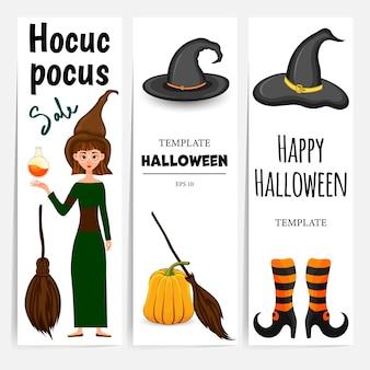 Modelo de halloween para texto com atributos de férias. estilo de desenho animado. ilustração vetorial.