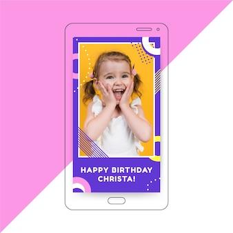 Modelo de história de aniversário no instagram