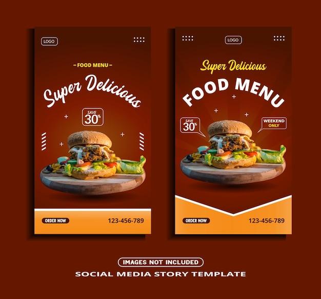 Modelo de história de instagram de comida