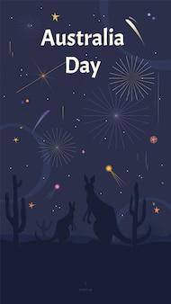 Modelo de história de mídia social do dia da austrália com cangurus assistindo fogos de artifício em uma savana.