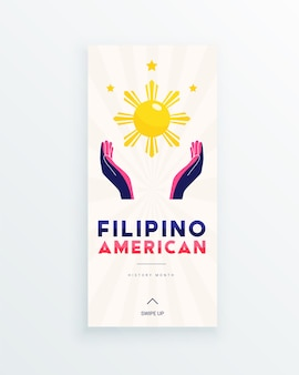 Modelo de história de mídia social do mês da história dos filipinos americanos com as mãos iluminadas pelo sol e pelas estrelas como símbolo das contribuições dos filipino-americanos à cultura mundial ...