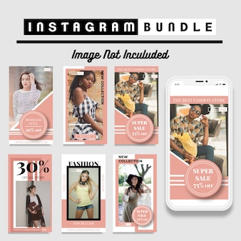 Modelo de história de moda criativa com desconto no instagram