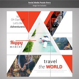 Modelo de história de postagem de mídia social de viagens de quebra-cabeça
