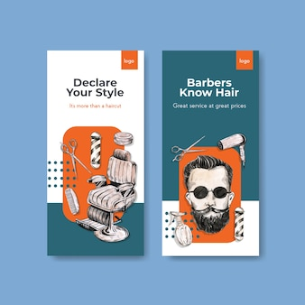 Modelo de história do instagram com design de conceito de barbeiro