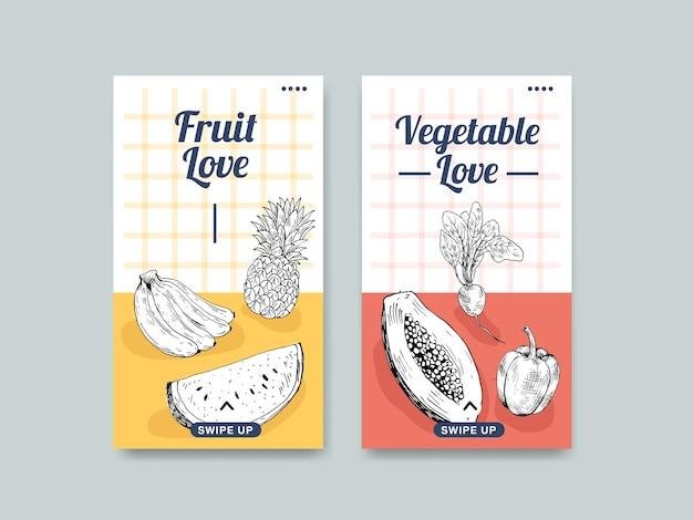 Modelo de história do instagram com design de conceito de comida vegana
