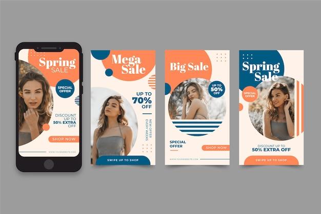 Modelo de história do instagram de venda de primavera