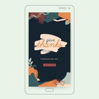 Modelo de história do instagram para o dia de ação de graças