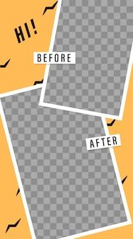 Modelo de histórias. antes e depois. transmissão. molduras para fotos