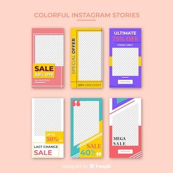 Modelo de histórias coloridas do instagram