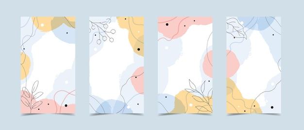 Modelo de histórias com fundo moderno abstrato com formas orgânicas fluidas, cores pastel