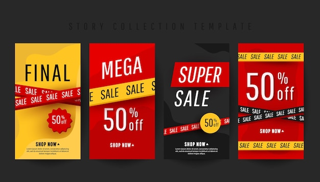 Modelo de histórias de banner vertical editável com texto de super desconto e elementos de decoração de venda