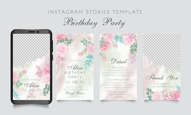 Modelo de histórias de festa de aniversário com moldura floral em aquarela