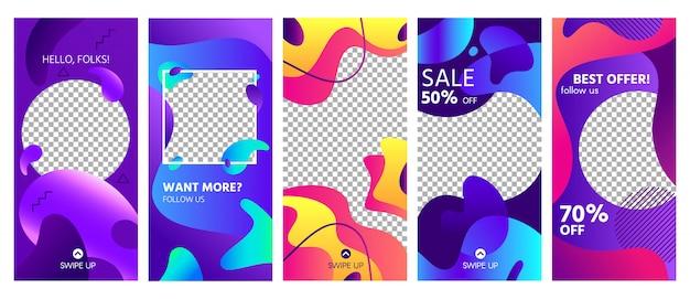 Modelo de histórias de formas fluidas. história de mídia social de forma abstrata colorida posta tendências, conjunto de layout de modelos de molduras